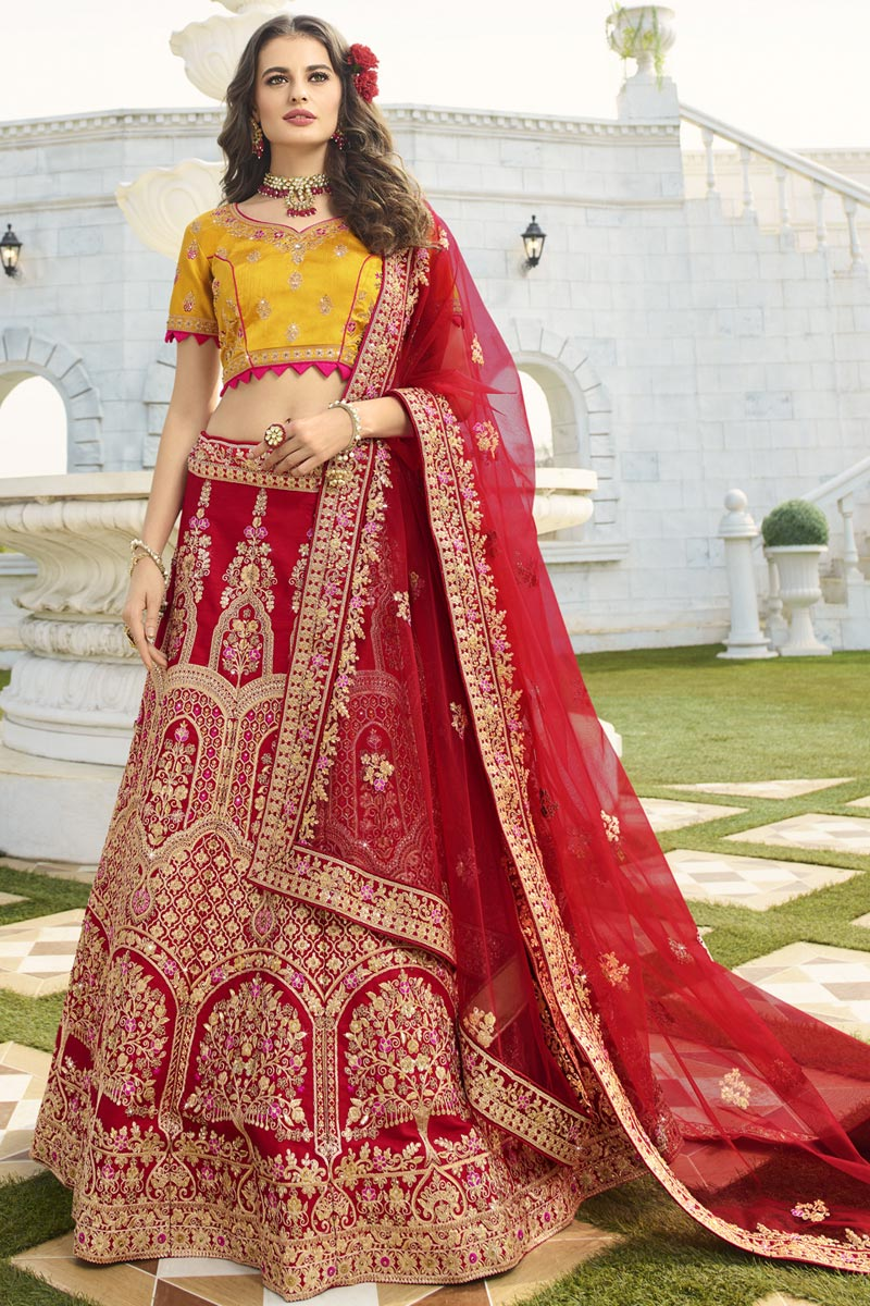 Eid Special Red Color Wedding Function Wear Designer Embroidered Lehenga In Art Silk Fabric