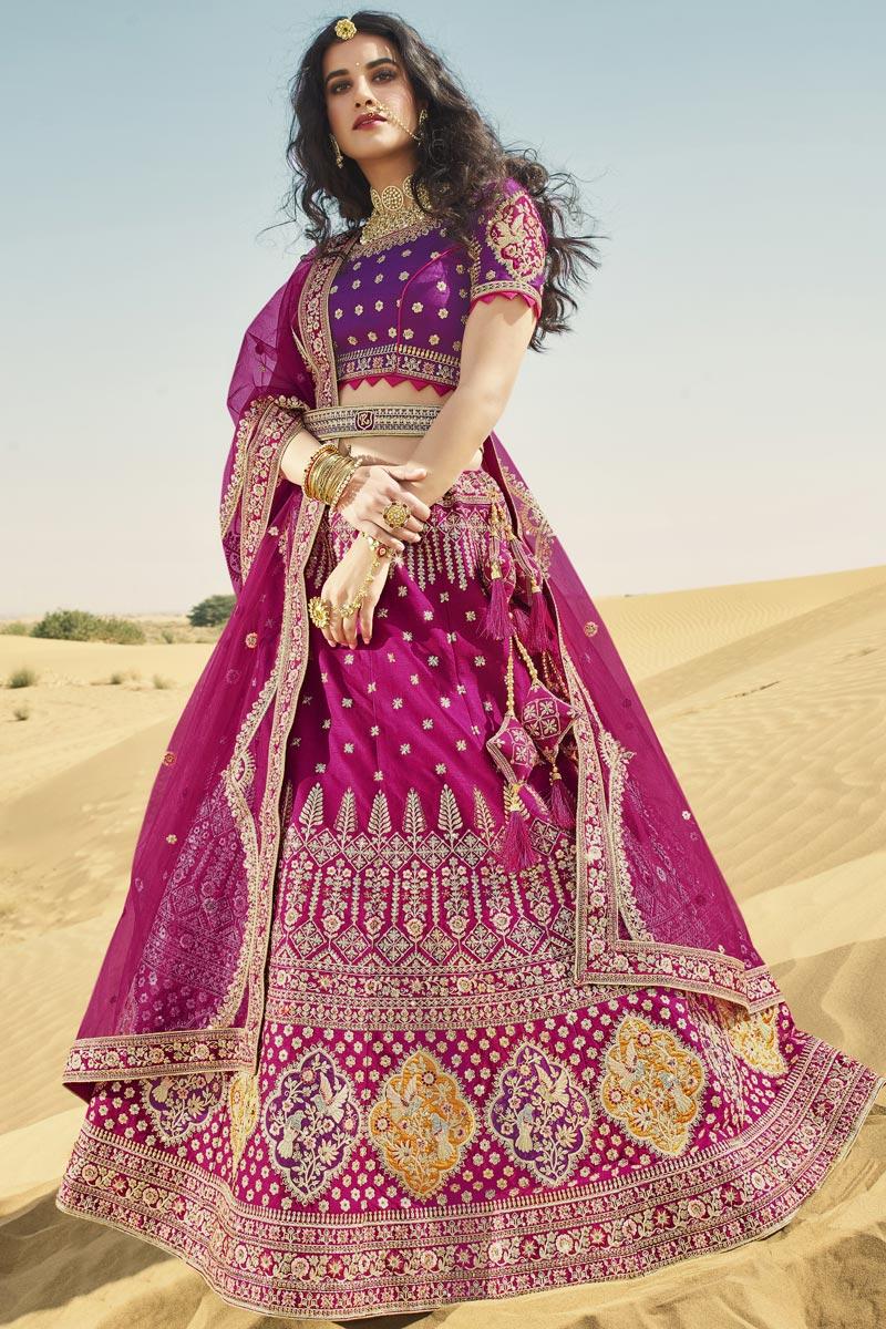 Silk Fabric Bridal Wear 3 Piece Lehenga Choli