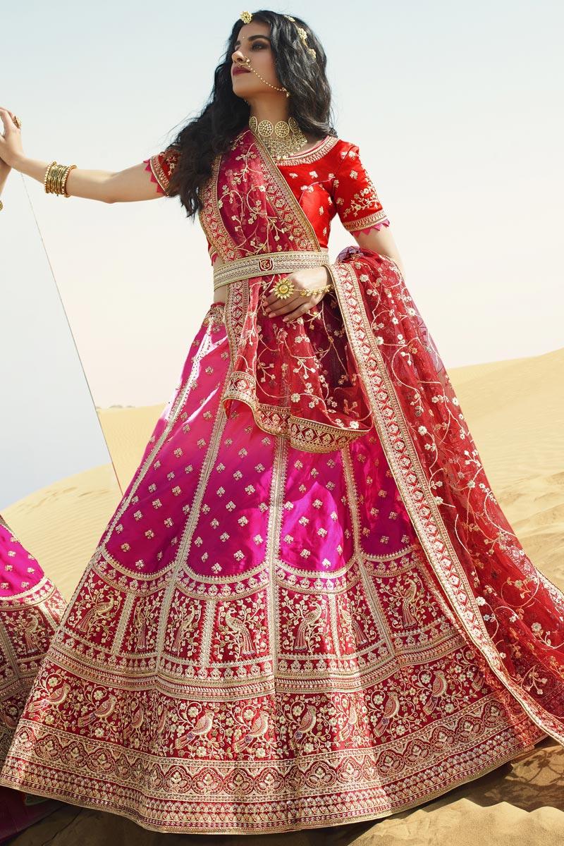 Rani Color Silk Fabric Bridal Wear Lehenga Choli