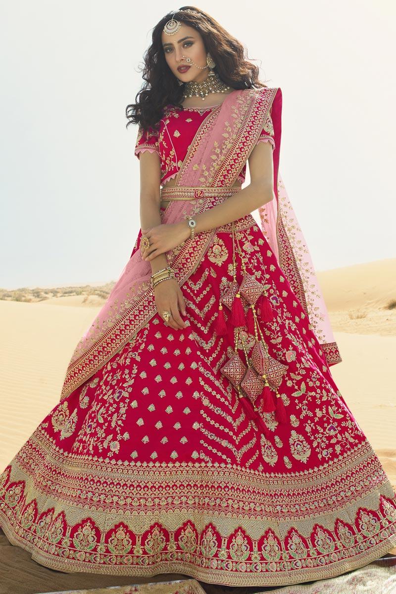 Silk Fabric Pink Color Bridal Wear 3 Piece Lehenga Choli