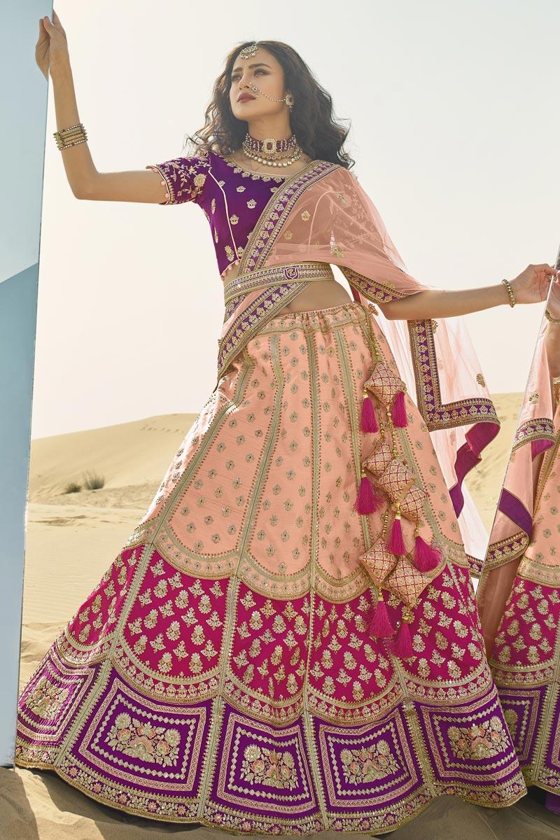 Peach Color Designer Bridal Lehenga Choli