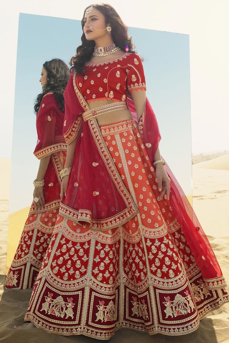 Orange Color Silk Fabric Bridal Wear Lehenga Choli