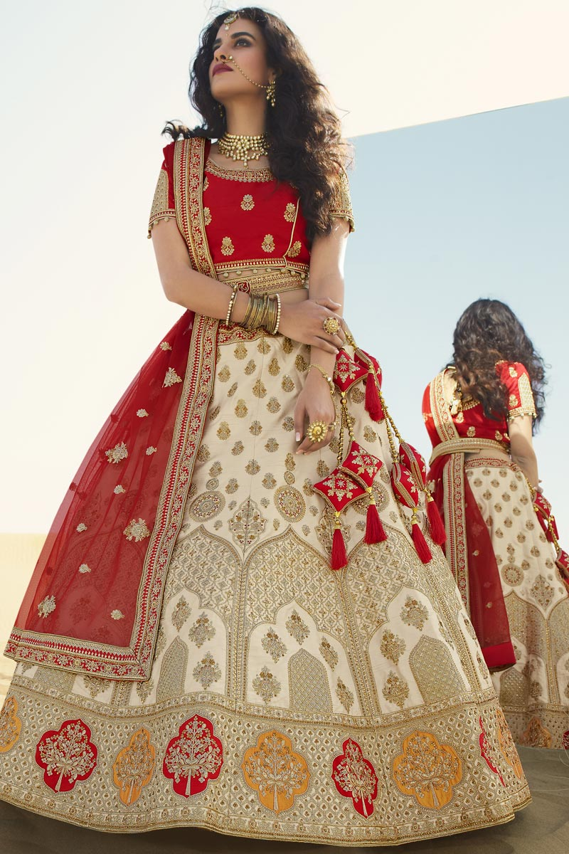 Beige Color Silk Fabric Bridal Lehenga Choli