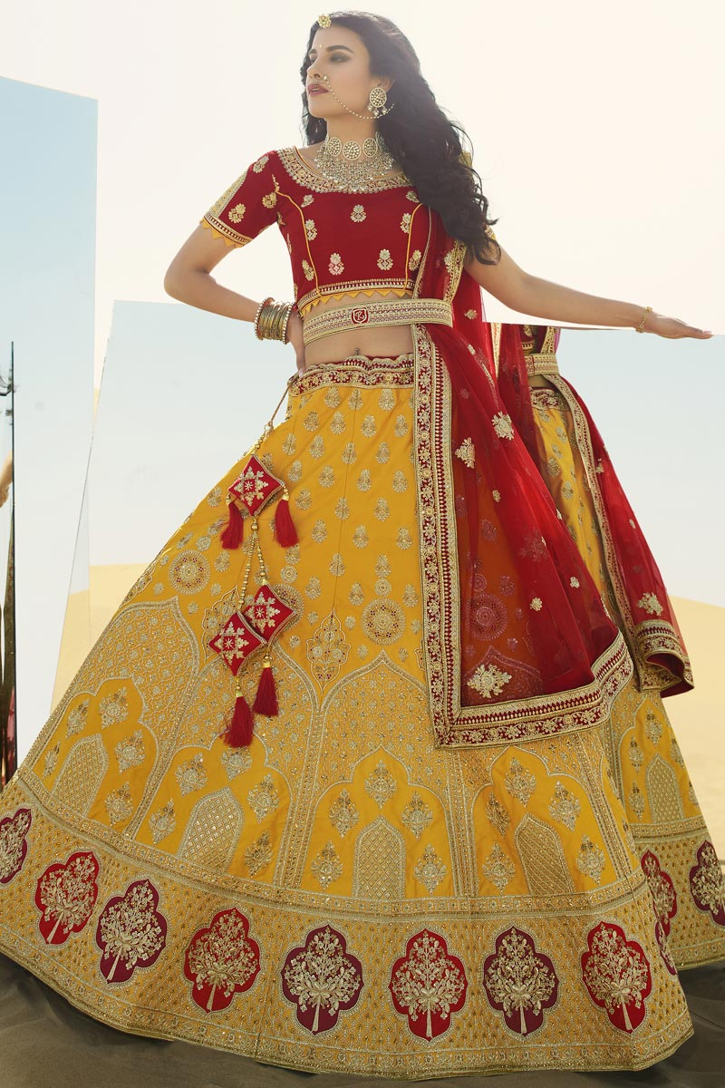 Embroidery Work Silk Fabric Designer Bridal Lehenga Choli