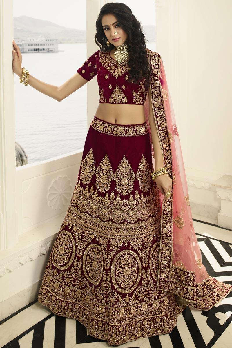 Eid Special Bridal Wear Satin Silk Embroidered Maroon Designer Lehenga Choli