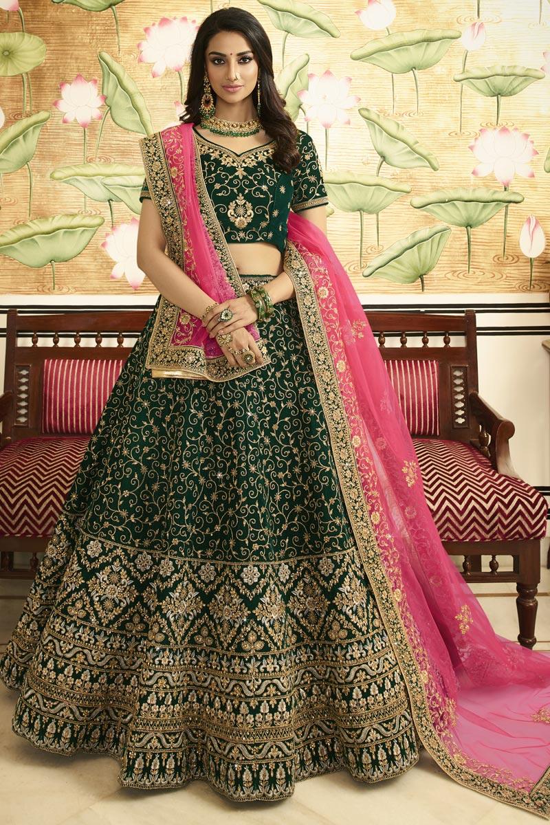 Eid Special Designer Embroidered Satin Silk Bridal Wear Dark Green Lehenga Choli