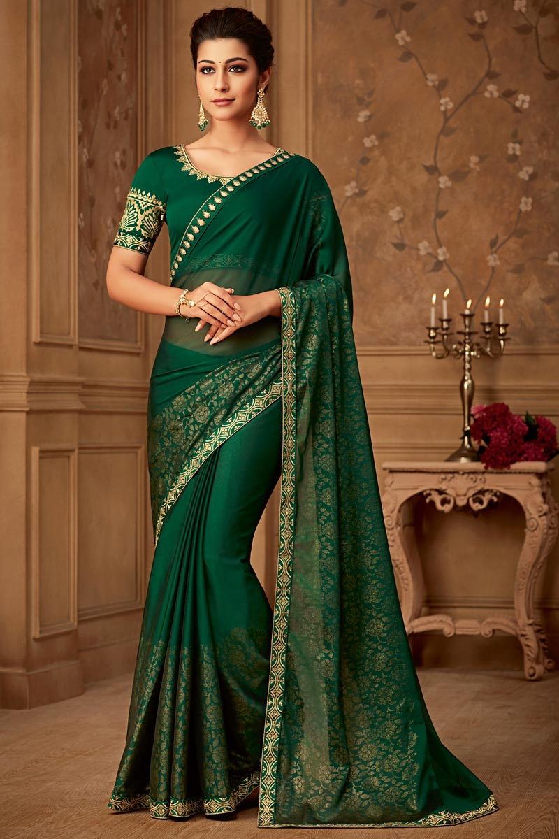 Embroidery Work On Dark Green Color Designer Saree In Art Silk Fabric With Admirable Blouse