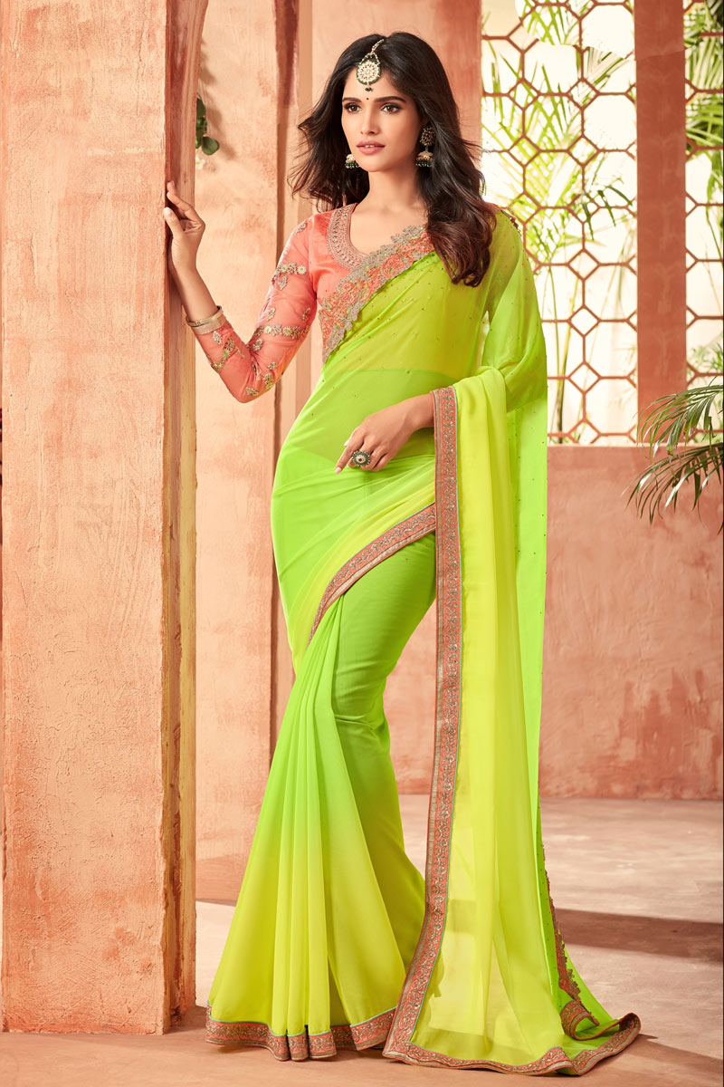 Georgette Fabric Embroidery Work On Green Occasion Wear Saree With Enchanting Blouse