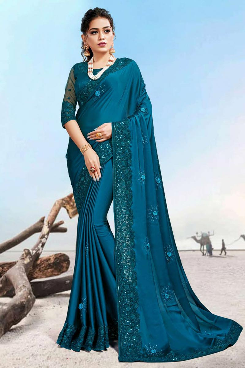 Teal Color Party Wear Saree In Georgette Silk Fabric