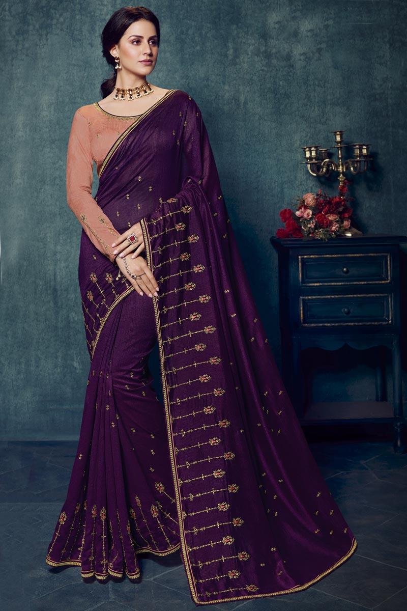 Purple Art Silk Alluring Party Style Designer Embroidered Saree