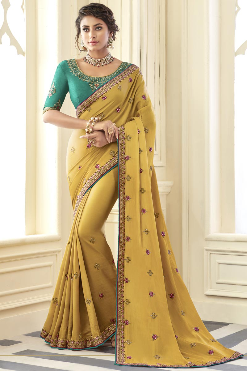 Fancy Yellow Color Art Silk Fabric Sangeet Wear Saree