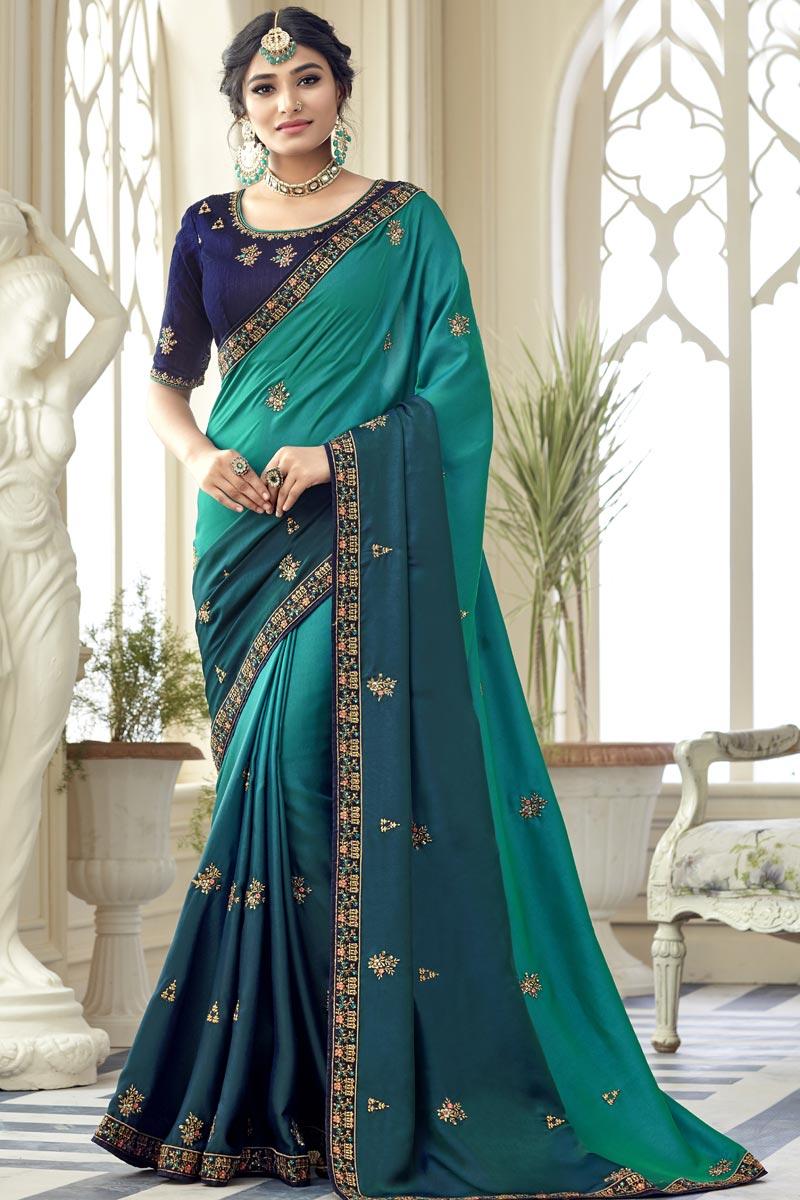 Sangeet Wear Art Silk Fabric Embroidery Work Saree In Dark Cyan Color
