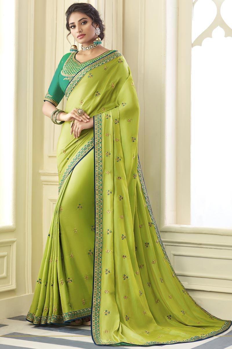 Green Color Art Silk Fabric Party Wear Stylish Saree