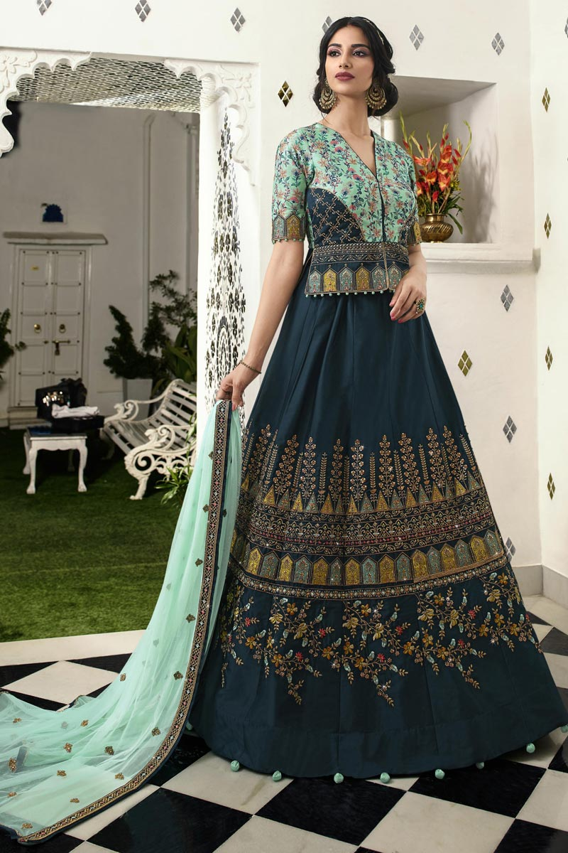 Eid Special Traditional Embroidered Navy Blue Function Wear Satin Silk Fabric Lehenga Choli