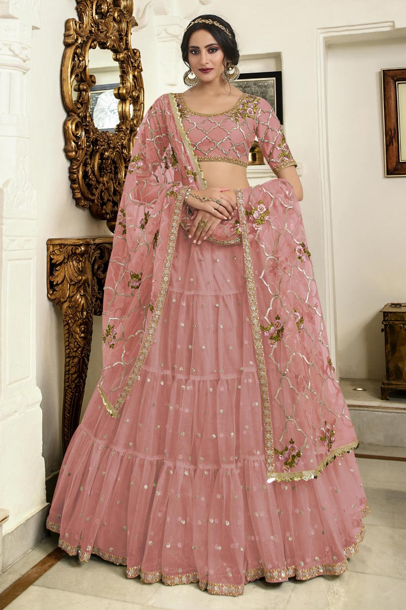 Eid Special Function Wear Pink Net Fabric Embroidered Traditional Lehenga Choli