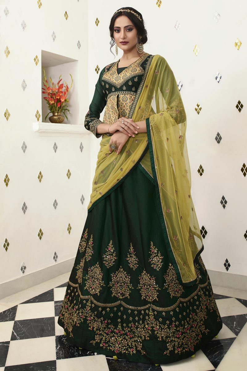 Eid Special Satin Silk Fabric Function Wear Traditional Embroidered Lehenga In Dark Green
