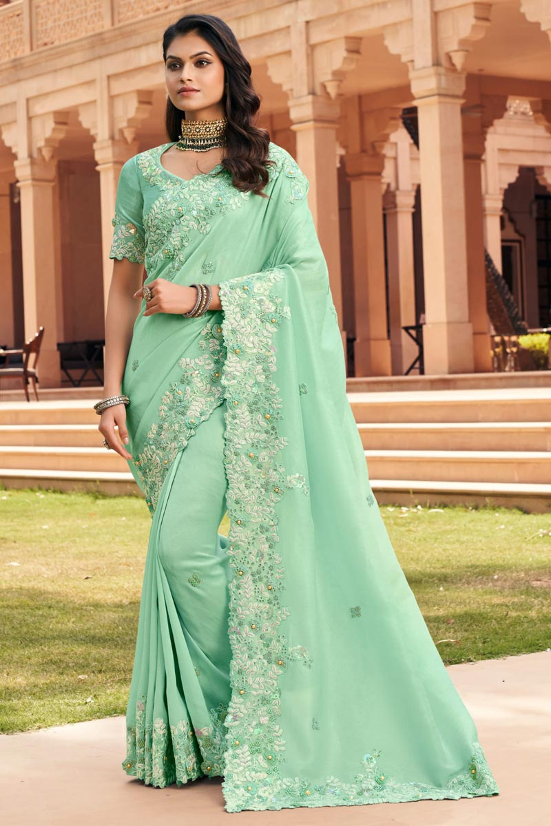 Fancy Fabric Function Wear Sea Green Color Embroidered Saree