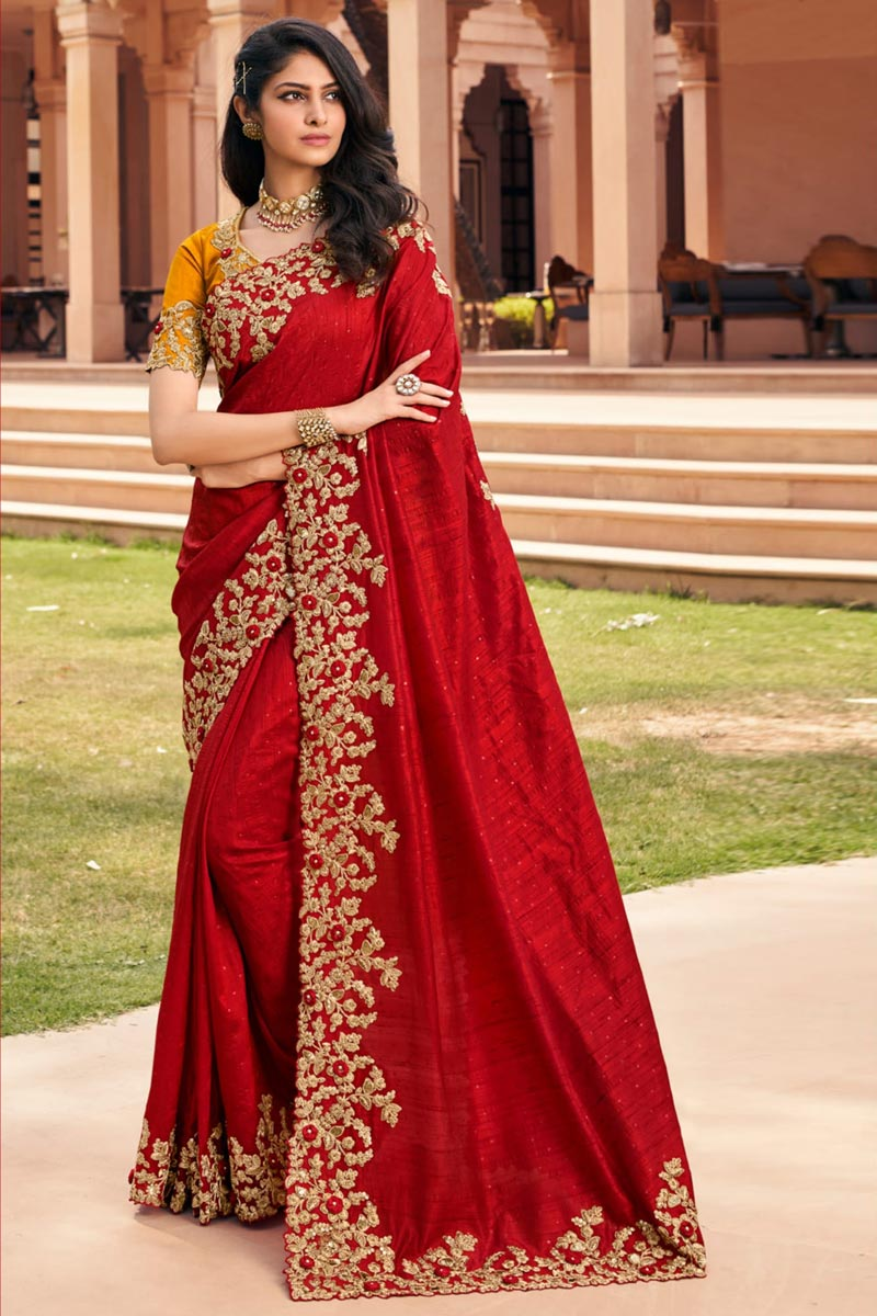 Festive Wear Red Color Designer Fancy Fabric Embroidered Saree