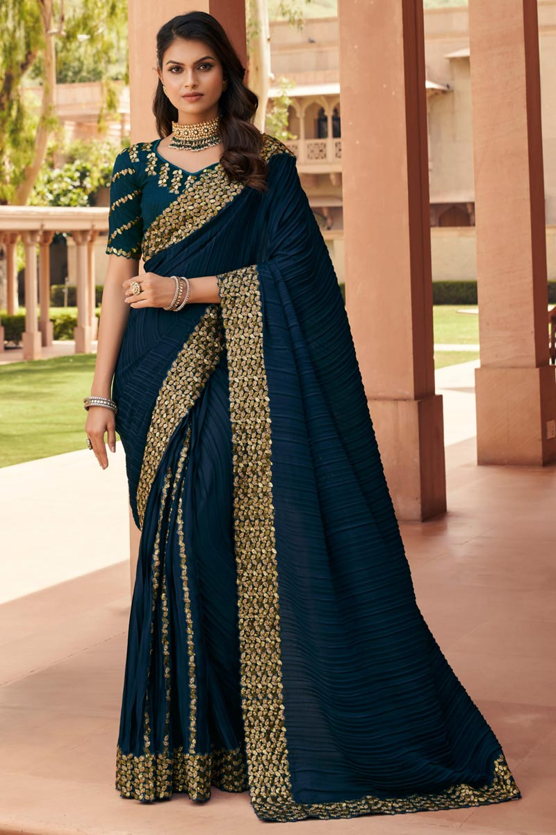 Party Wear Fancy Fabric Embroidered Designer Saree In Teal Color
