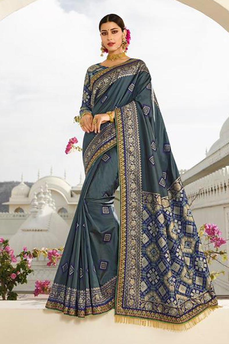 Grey Designer Art Silk Sangeet Function Wear Fancy Embroidered Saree