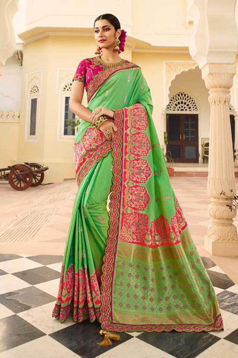 Designer Sangeet Function Wear Art Silk Fancy Embroidered Saree In Sea Green