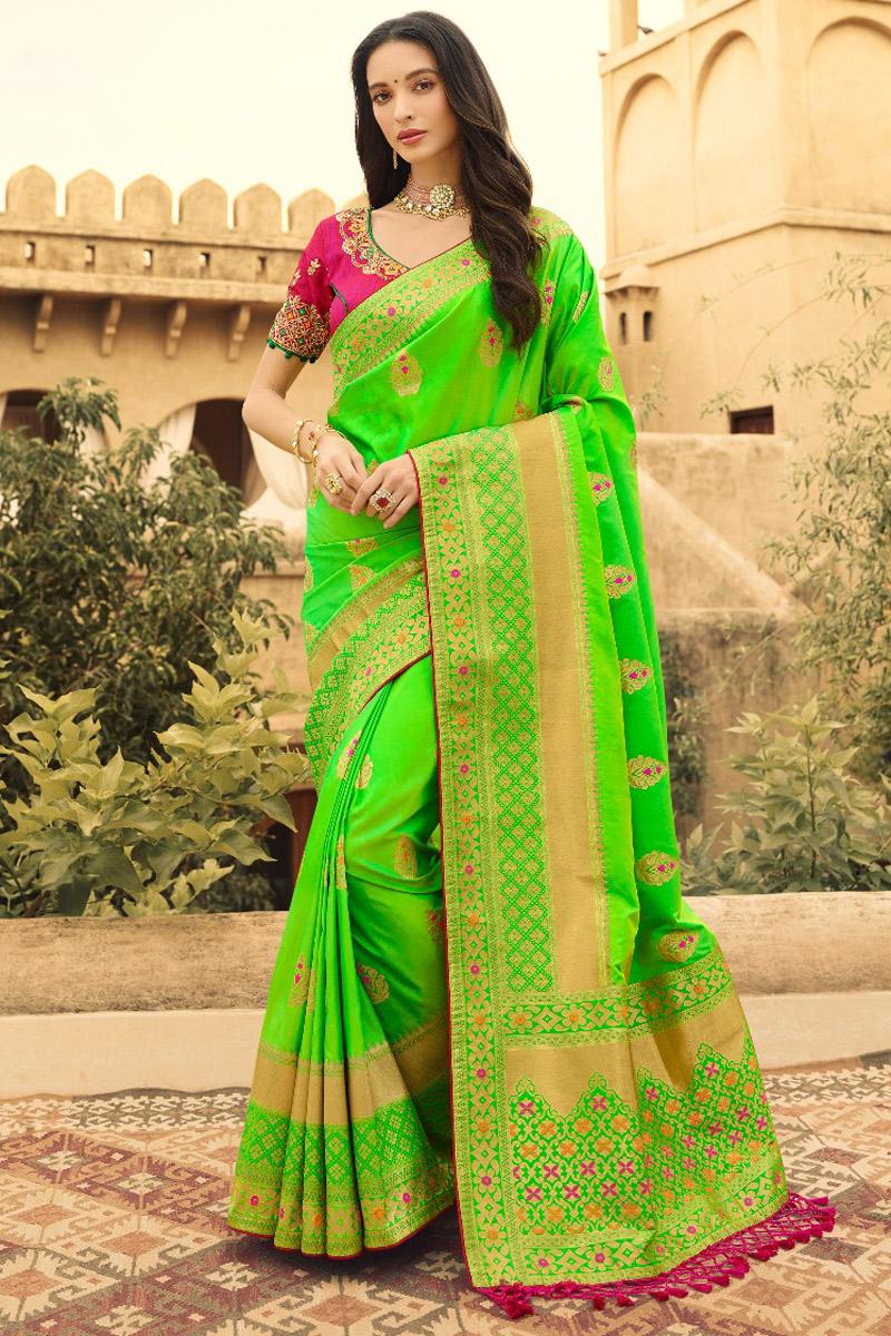 Art Silk Sangeet Wear Weaving Work Green Saree With Heavy Blouse