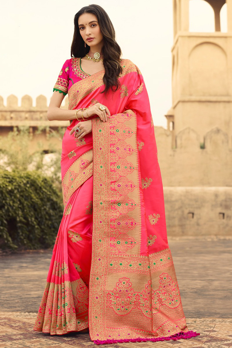 Pink Sangeet Wear Weaving Work Saree In Art Silk With Heavy Blouse