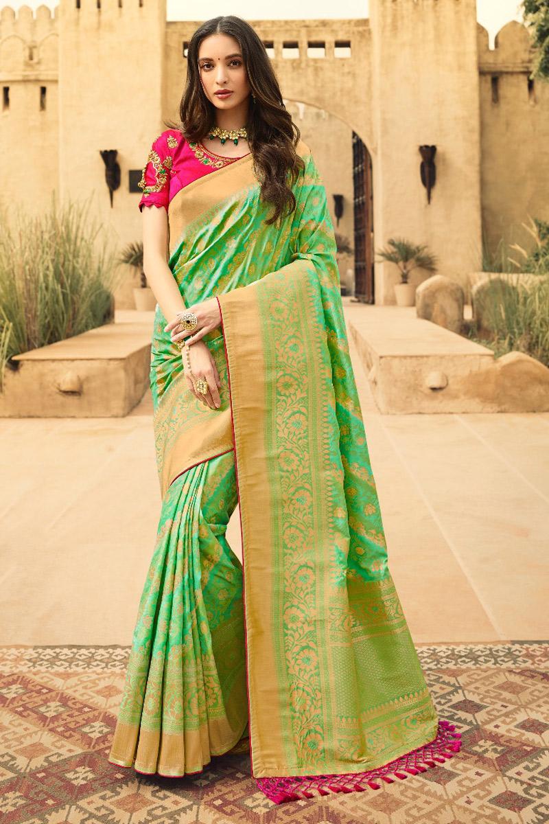 Sangeet Wear Art Silk Sea Green Weaving Work Saree With Fancy Blouse