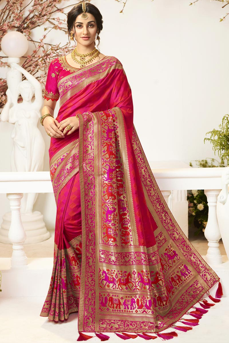 Rani Color Traditional Wear Designer Jacquard And Silk Fabric Saree With Embroidered Blouse