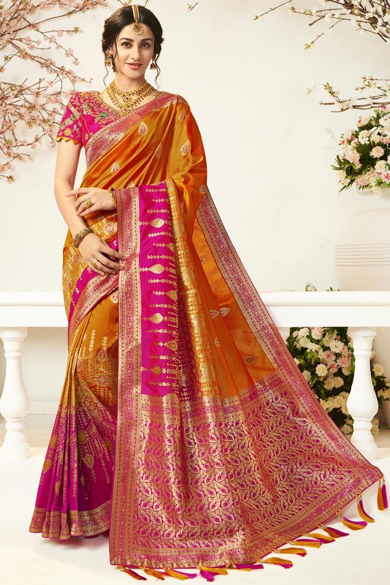 Eid Special Orange Color Traditional Wear Designer Jacquard And Silk Fabric Weaving Work Saree
