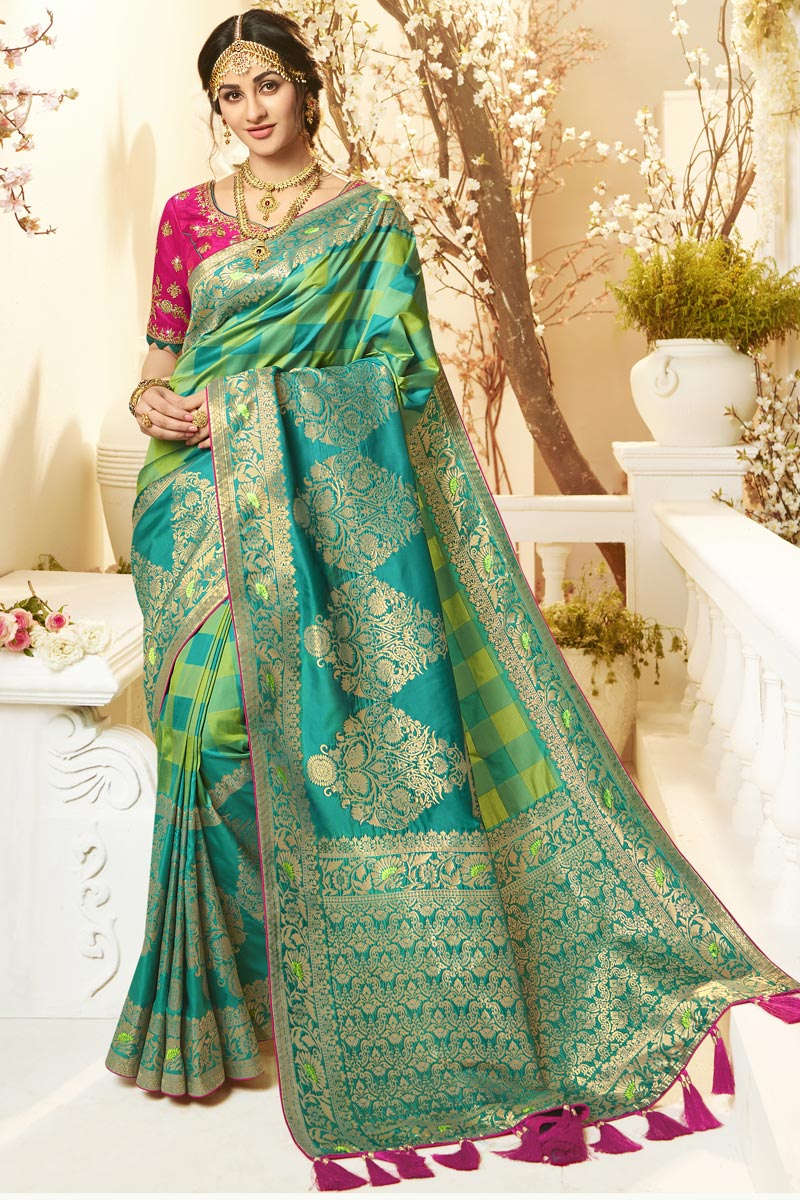 Eid Special Sea Green Color Traditional Wear Designer Jacquard And Silk Fabric Weaving Work Saree