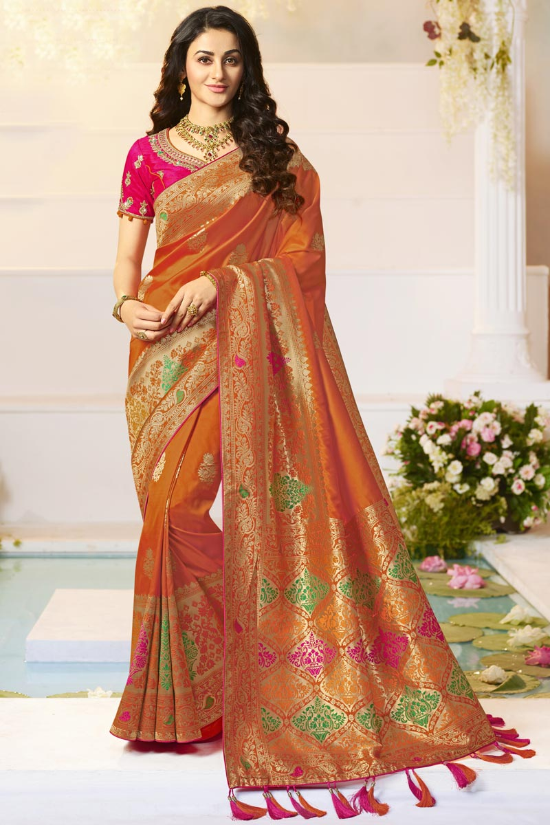 Jacquard And Silk Fabric Traditional Wear Orange Color Designer Weaving Work Saree