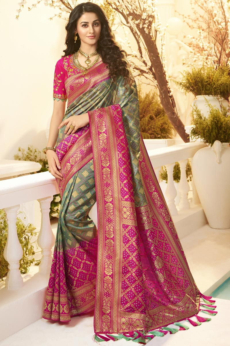 Jacquard And Silk Fabric Traditional Wear Designer Grey Color Saree With Embroidered Blouse