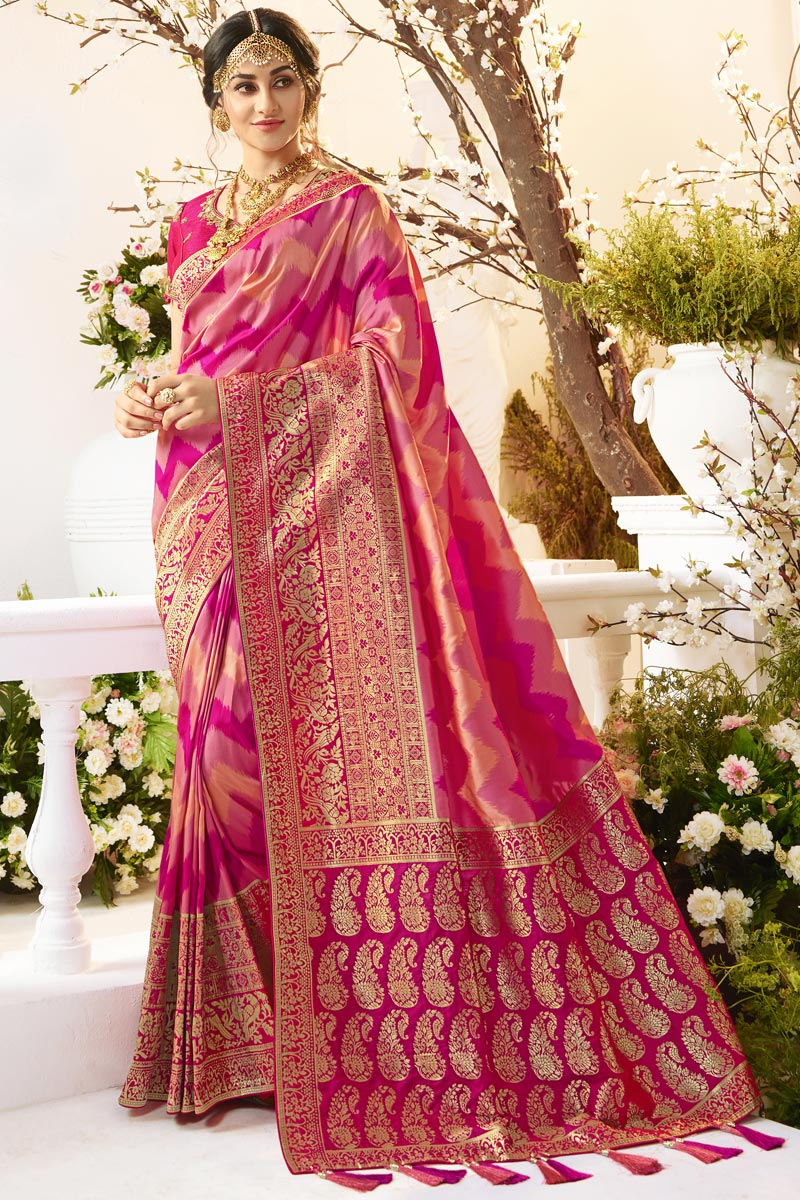 Eid Special Traditional Wear Pink Color Designer Weaving Work Saree In Jacquard And Silk Fabric
