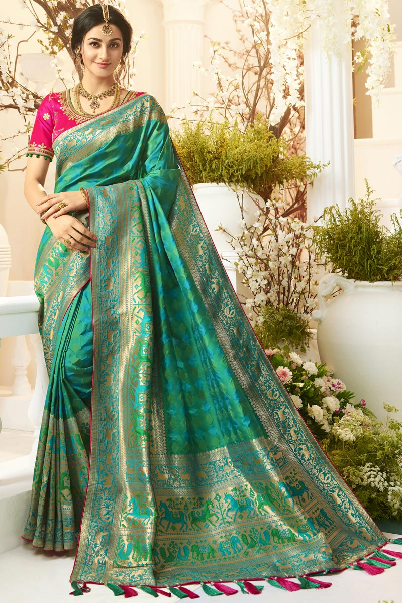 Teal Color Traditional Wear Designer Saree With Embroidered Blouse In Jacquard And Silk Fabric