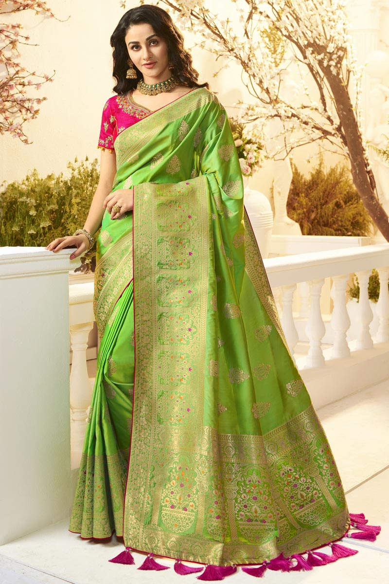 Eid Special Traditional Wear Sea Green Color Designer Jacquard And Silk Fabric Saree With Embroidered Blouse