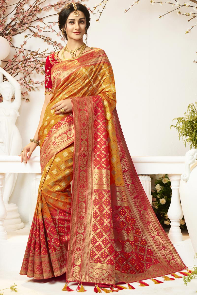 Eid Special Traditional Wear Orange Color Designer Jacquard And Silk Fabric Saree With Embroidered Blouse