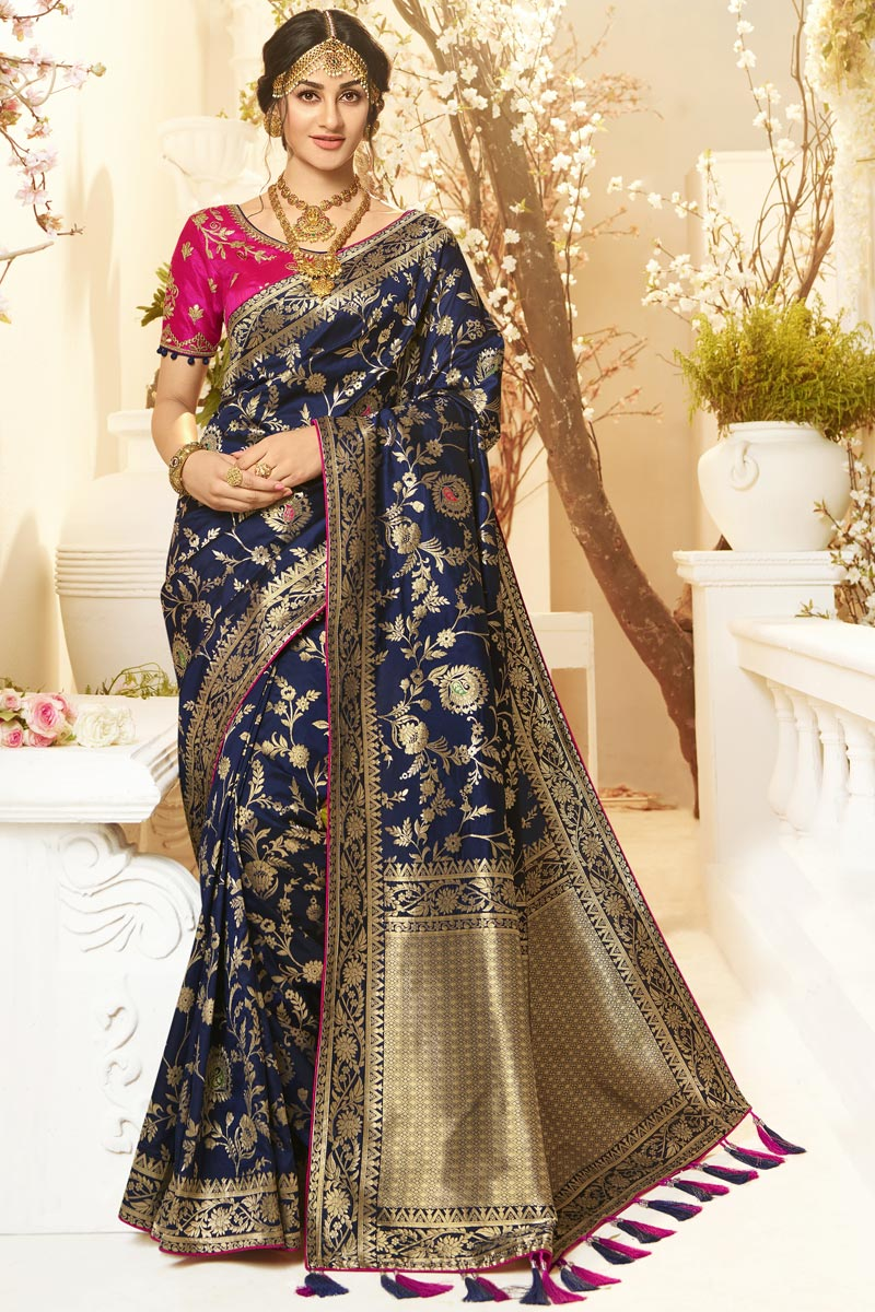 Navy Blue Color Function Wear Designer Jacquard And Silk Fabric Saree With Embroidered Blouse