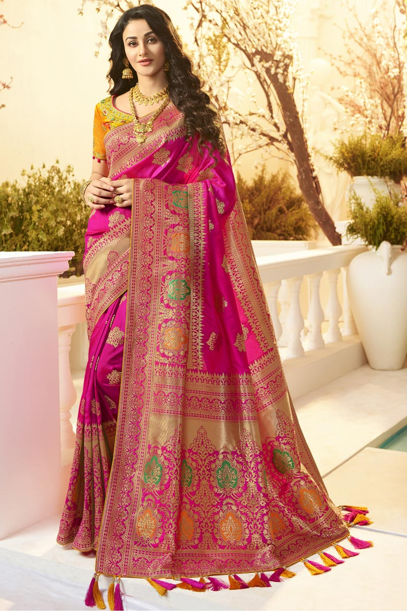 Eid Special Function Wear Jacquard And Silk Fabric Designer Weaving Work Saree In Magenta Color