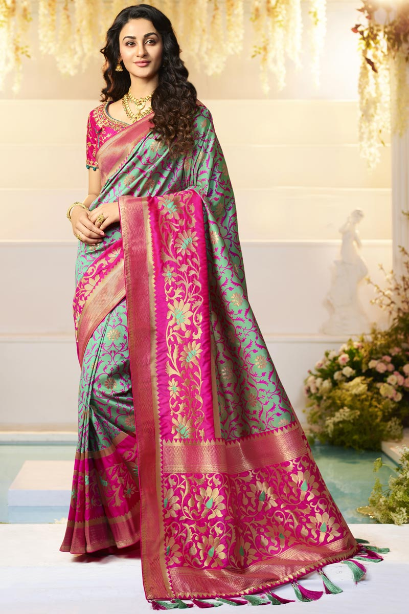 Jacquard And Silk Fabric Function Wear Designer Saree With Embroidered Blouse In Cyan Color