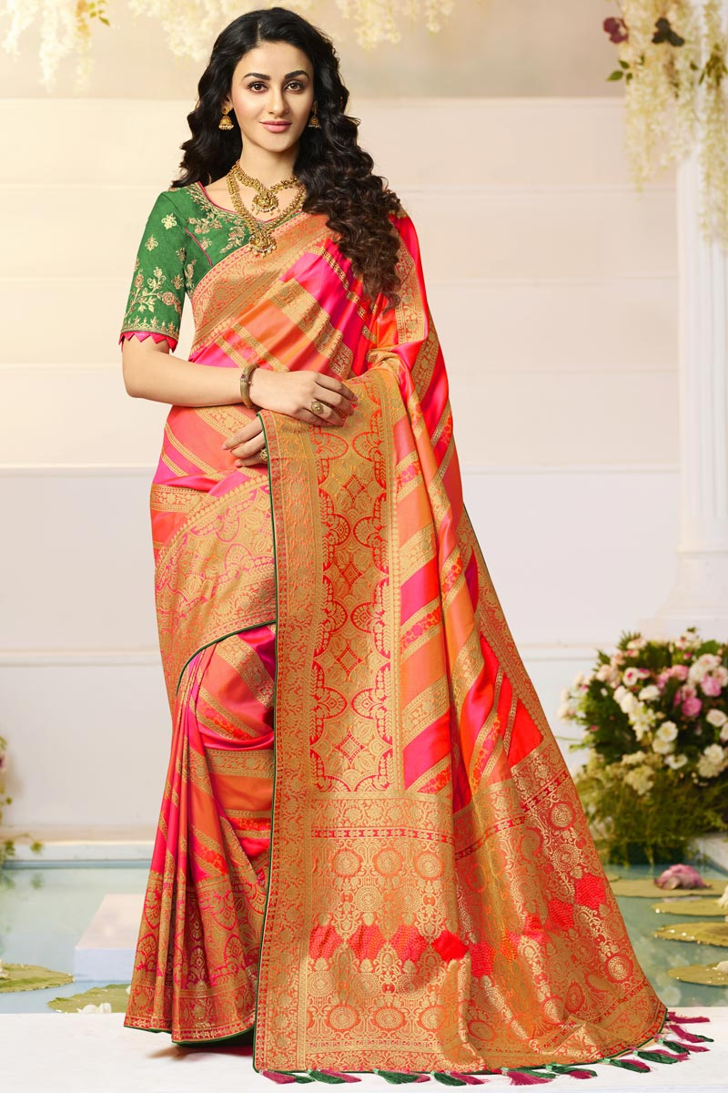 Orange Color Function Wear Designer Jacquard And Silk Fabric Weaving Work Saree