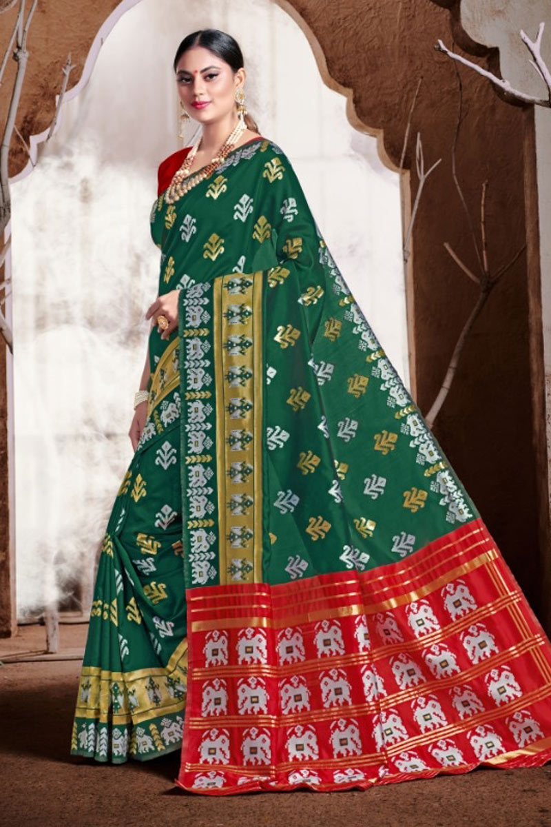 Weaving Work Banarasi Silk Fabric Dark Green Color Designer Saree