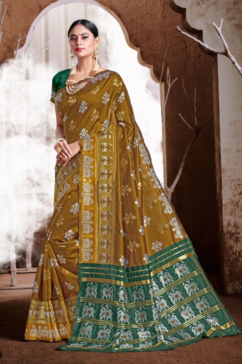 Weaving Work Coffee Color Traditional Fancy Saree In Banarasi Silk Fabric