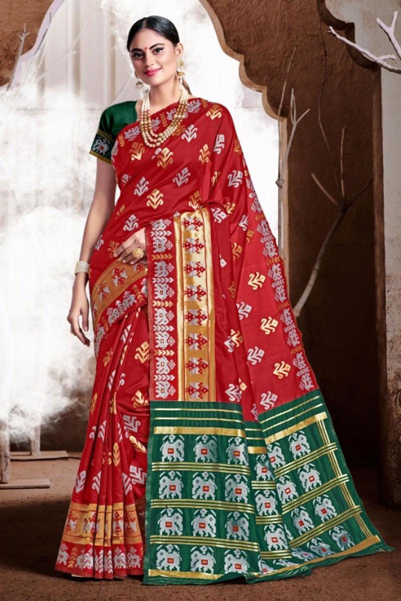 Red Color Weaving Work Banarasi Silk Fabric Traditional Fancy Saree