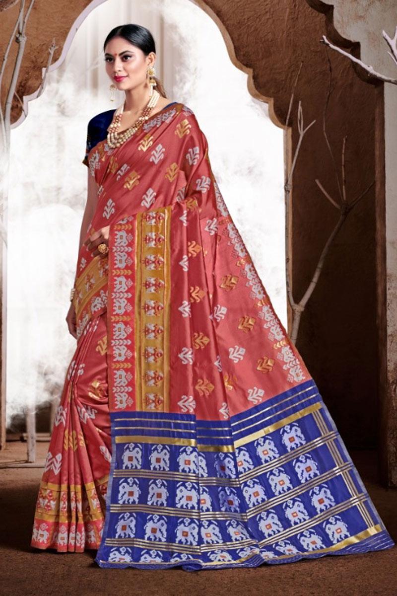 Weaving Work Salmon Color Traditional Fancy Saree In Banarasi Silk Fabric