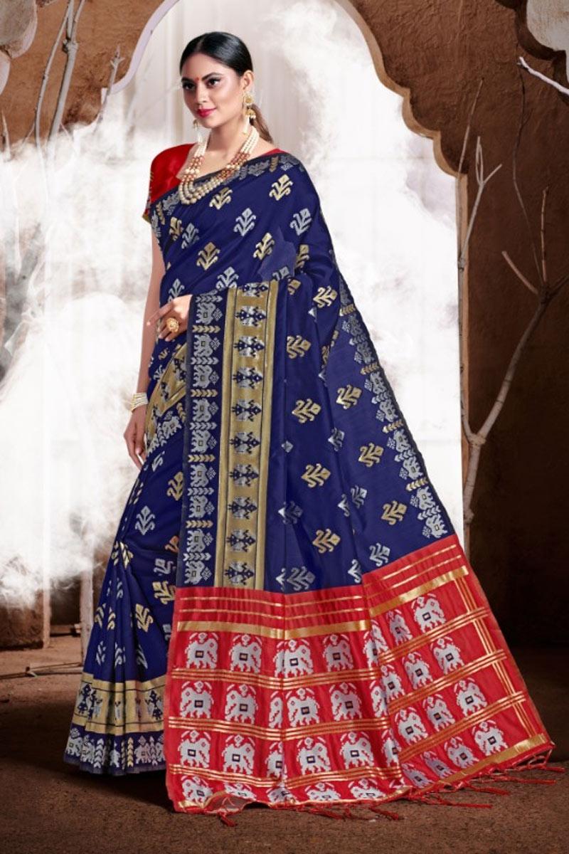 Weaving Work Banarasi Silk Fabric Blue Color Designer Saree
