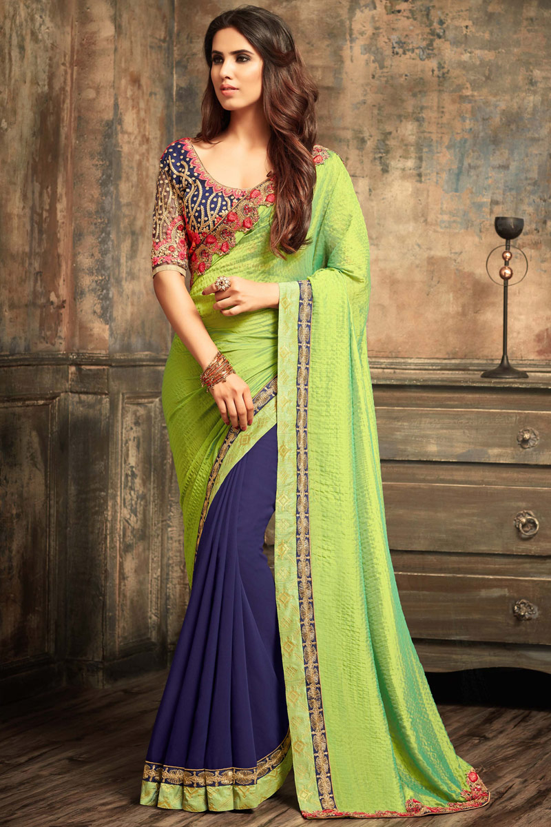 Embroidered Sea Green Georgette Designer Saree With Party Wear Blouse