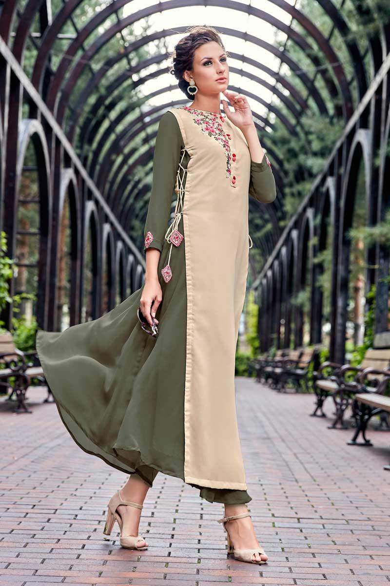 Embellished Beige Georgette Readymade Long Kurti
