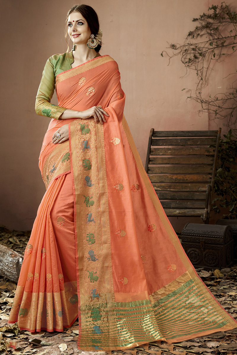 Embroidered Cotton Silk Designer Saree In Salmon Color With Party Wear Blouse