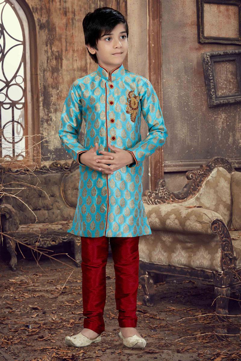 Fancy Jacquard Fabric Cyan Festive Wear Boys Kurta Pyjama